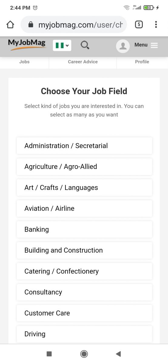 Select The Job You Want