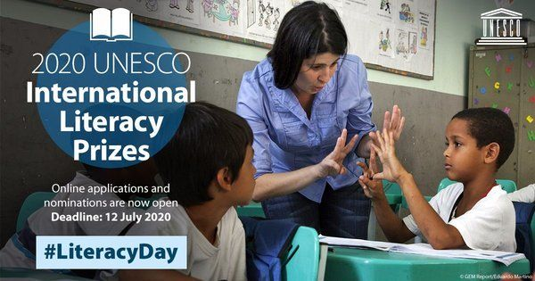 Call for applications and nominations for the 2020 UNESCO International Literacy Prizes