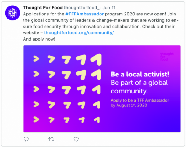2020 Thought For Food Ambassador Application